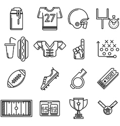 Contour icons for american football vector