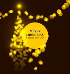 Christmas tree golden lights vector