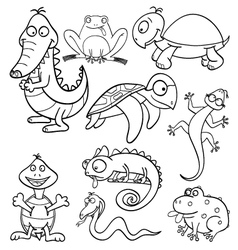 Coloring book with reptiles and amphibians vector