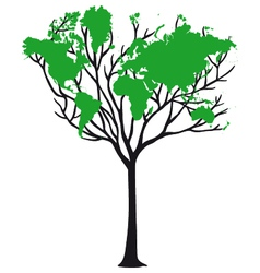 World map tree vector