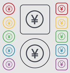 Japanese yuan icon sign symbol on the round and vector
