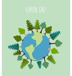 Earth day earth with trees geometric trees and vector