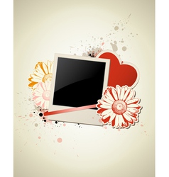 Photo frame with heart and flower on a grunge back vector