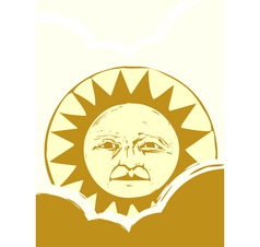 Sun face and clouds a vector