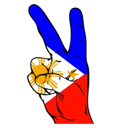 Peace sign of the philippine flag vector