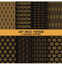 Art deco vintage patterns - 8 seamless backgrounds vector