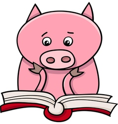 Learning piglet cartoon vector