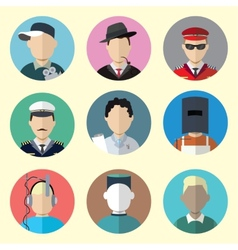 Set of circle icons with man different professions vector