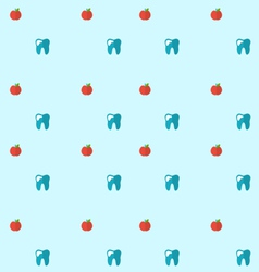 Seamless pattern with tooth and apples health care vector