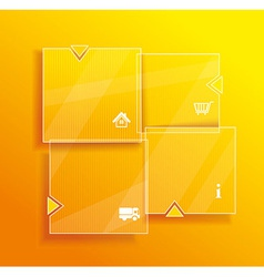 Glass framework set website template design vector
