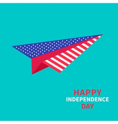 Paper plane with stars and strips independence day vector