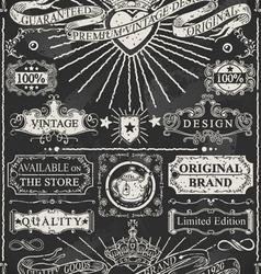 Set of calligraphic design elements on blackboard vector