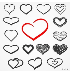 Sketch hearts set vector