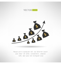 Financial graph with money bags income raise vector