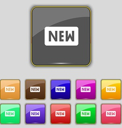 New icon sign set with eleven colored buttons for vector