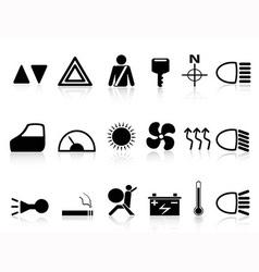 Car dashboard icons set vector