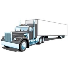 Black semi truck vector