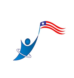 Happy patriotic man logo vector