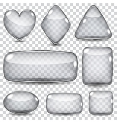 Set of transparent glass shapes vector