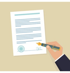 Contract sign hand vector