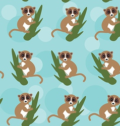 Seamless pattern lemur on green branch on blue vector