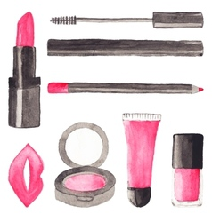 Make up stuff set of watercolor beauty items on vector