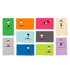 Yoga practice cards vector