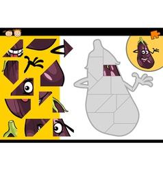 Cartoon eggplant jigsaw puzzle game vector