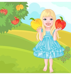 Cute little girl with the apples laughs vector
