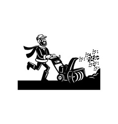 Man operating snow blower or thrower vector
