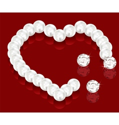 Pearl beads for valentine day vector