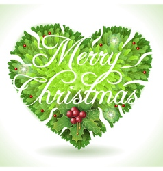 Holly leaves heart and merry christmas vector