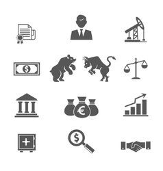 Set of black and white financial stock icons vector