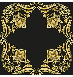 Gold pattern black background vector