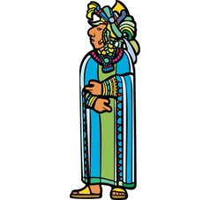 Standing mayan in robe vector