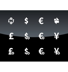 Exchange rate icons on black background vector