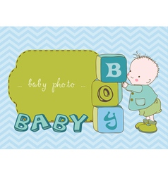 Baby boy arrival card with photo frame in vector