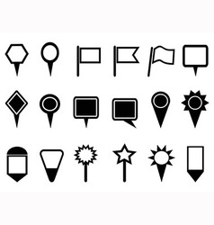 Map pointer and navigation icons vector