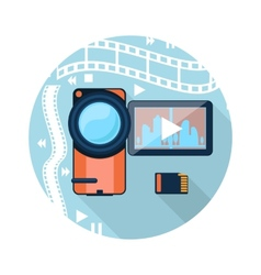 Video camera with cinema tape on background vector
