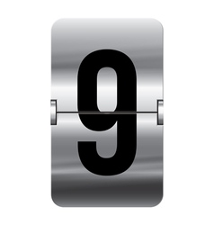 Alphabet silver flipboard letters 9 vector