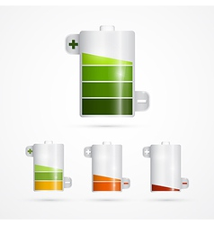 Battery icon battery life set isolated on white vector