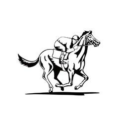 Horse and jockey racing retro vector