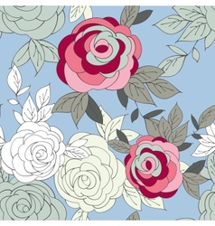 Pink peony flower seamless pattern vector