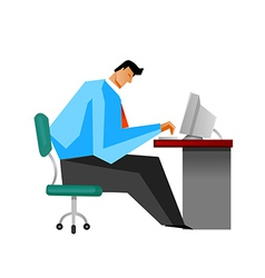 Side view of man sitting by computer vector