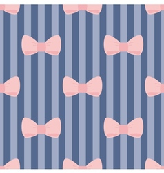 Seamless pattern pastel pink bows on navy blue vector