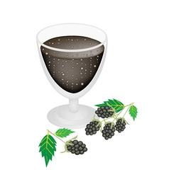 Blackberry juice in glass with blackberry fruit vector