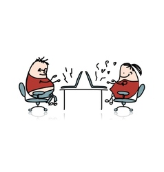 Peoples working at office cartoon for your design vector