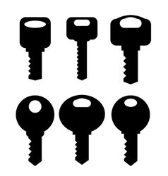 Keys silhouettes icons vector