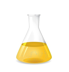 Conical flask with chemical colored solution vector