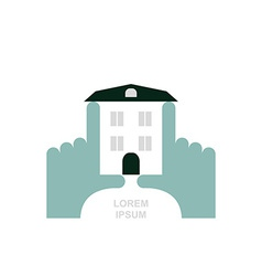 House in hands logo and icon for property template vector